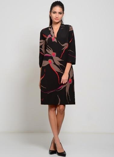 House Of Camellia Truvakar Kol Desenli Elbise Siyah